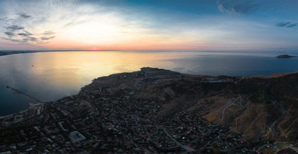 Панорама Феодосии на рассвете.