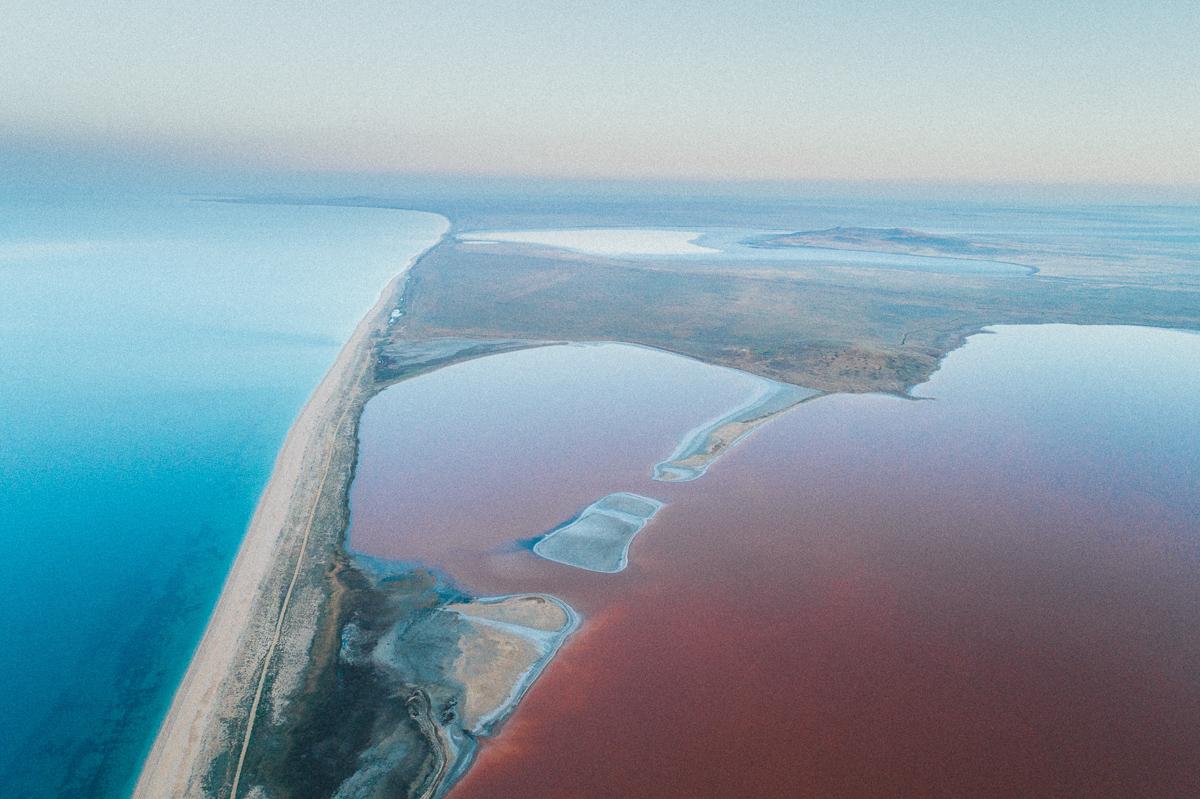Панорама розового озера с высоты